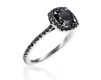 Almost Eternity White Gold & Black Diamond Ring