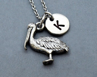 Pelican necklace, pelican charm, antique silver, initial necklace, initial hand stamped, personalized, monogram