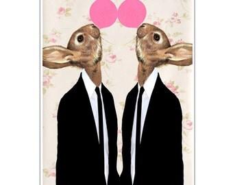 Rabbit Nursery Decor, Bunny Print, Rabbit Art Print, Rabbit Print, Rabbit Art, Rabbit Wall Art, Pink, Rabbits with Bubblegum, Art Print