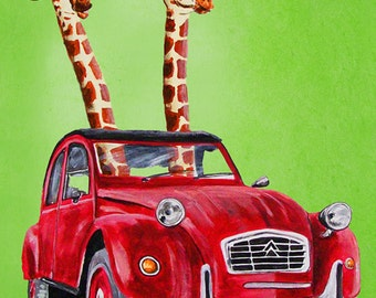 Animal painting portrait painting  Giclee Print Acrylic Painting Illustration Print wall art wall decor Wall Hanging: Giraffes in a red car