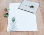 Peacock Feather Letter Writing Set - Letter Set - Gift for her