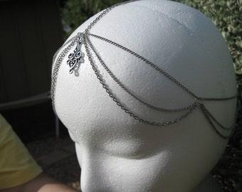 Multi Strand Silver Chain Headpiece, Headband, Head Chain