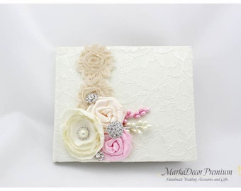 READY TO SHIP Wedding Lace Guest Book Custom Bridal Flower Brooch Guest Books in Ivory, Champagne, Pink and Tan