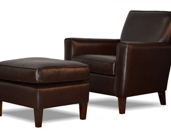 Genuine Espresso Brown Leather Accent Chair & Ottoman - Club Chair - Cigar Chair