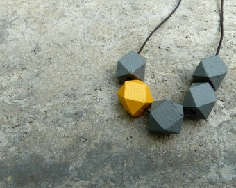 Geometric Wood Necklace // Faceted Wood Bead Necklace // Hedron Necklace // Grey and Mustard
