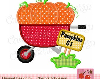 Pumpkin Wagon Digital Appliqque ,Fall and Thanksgiving embroidery designs-4x4 5x5 6x6 inch- Machine Embroidery Applique Design