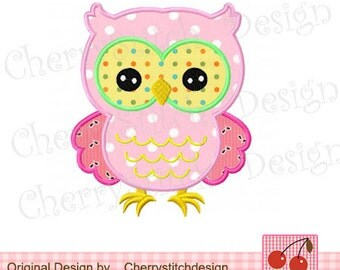 Owl Machine Embroidery Applique -4x4 5x5 6x6 inch