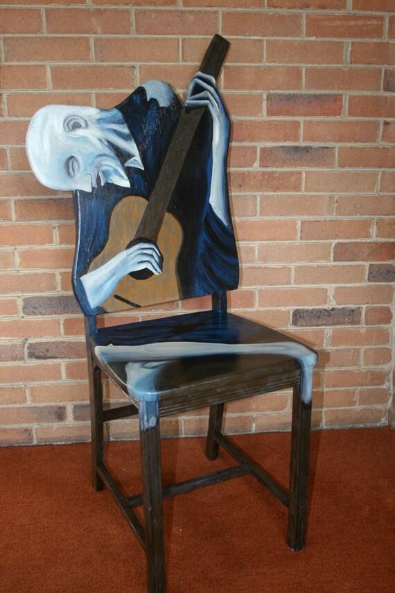picasso le vieux guitariste upscal s chaise peint par. Black Bedroom Furniture Sets. Home Design Ideas