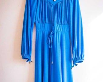 Gorgeous 1970s Dress in Neon Blue UK 12