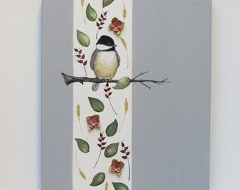 SALE, Little Chickadee, acrylic painting, chickadee painting, animal painting, contemporary art, nature painting, fine art
