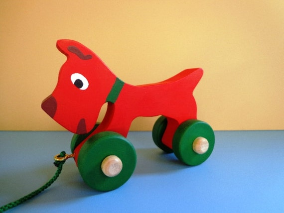 Wood Scottie Dog - Hand Made - Hand Painted - Red - Classic Toy -  Waldorf - Eco Friendly Kids Toy