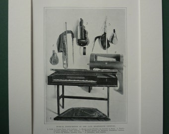 1904 Antique Print Of 18th Century Musical Instruments - Georgian - Music Lessons - Piano - Teacher - Class - Historical Print - Hurdy Gurdy