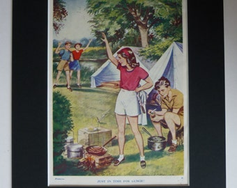 Vintage Camping Print - Campfire Lunch - Retro ...