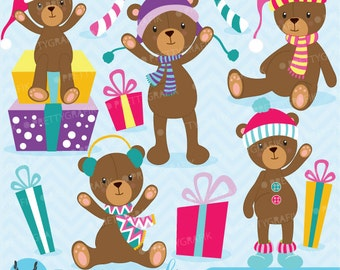 80% 0FF SALE Christmas Teddy bear clipart commercial use, vector graphics, digital clip art, digital images  - CL609