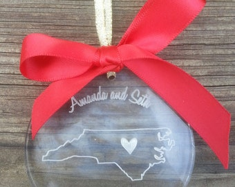Personalized Heart Over North Carolina Christmas Ornament