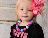 Colorful Chunky Beaded Necklace for Girls with Blue, Pink and Purple
