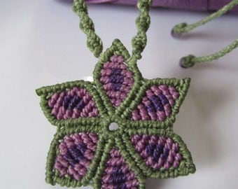 Green Olive&Lila Macrame Flower Pendant Handmade Creation with Amethyst Gemstone Beads