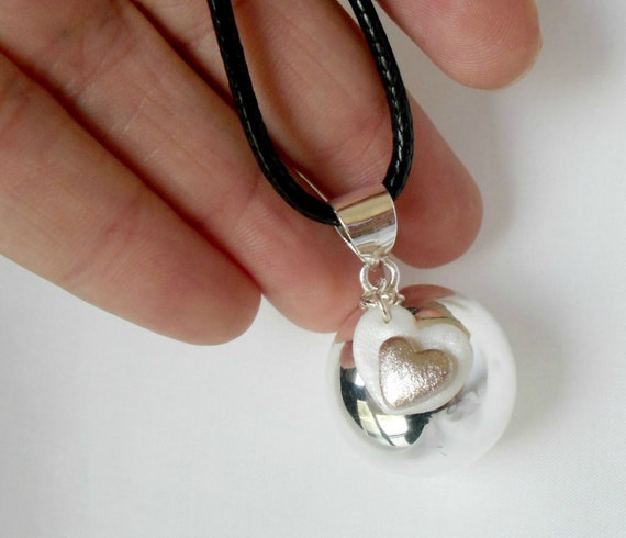 Silver Pregnancy necklace- Mexican Bola necklace- Mother's day  pendant- Harmony ball