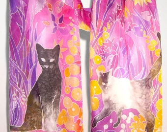 Long silk scarf CATS hand painted silk scarves - Habotai pink scarf - Siamese cat black cat