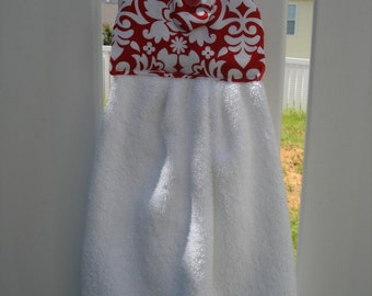 Hanging Hand Towel White Red Print & White Towel