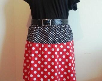 Womens skirt, polka dot skirt, red white, black