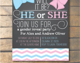 Custom Gender Reveal Party Invitation - Chalkboard 5x7 - DIGITAL FILE ONLY!