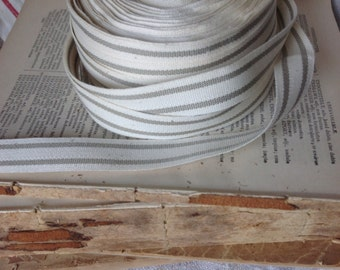 grey and cream ticking stripe cotton ribbon