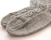 Knitted owl socks, Grey socks, Wool socks, Thick socks, Warm socks, Rustic socks