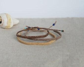 Bracelets for him / Brown Cord Bracelet / Ombre Friendship Bracelets / Set of 3 Macramé Bracelets / Surfer Jewelry