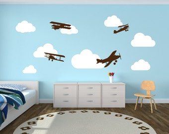 Wall Decal Airplanes with Clouds Wall Decal - Childrens Room Decor Kids Room Teens Room Vinyl Wall Decal Airplanes With Clouds