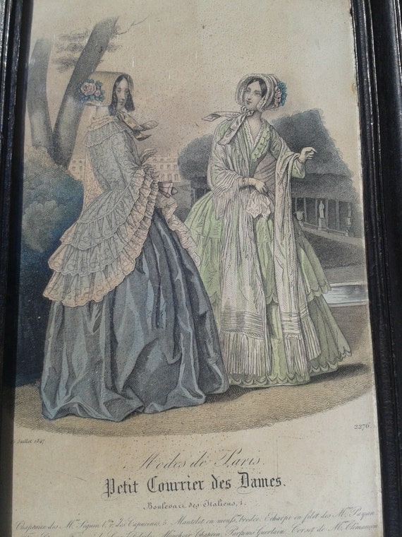 Antique 1847-  French Fashion Plate- Original -Colored Printed Drawing -Petit Courrier des Dames - Mode de Paris - Fashion Advices Listing