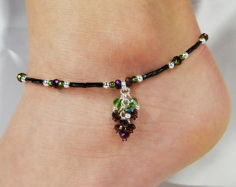 Anklet, Ankle Bracelet,  Purple Grape Cluster Jewelry, Crystal Anklet, Beaded Anklet, Wine Jewelry, Wine Festival Jewelry, Wine Tour Jewelry
