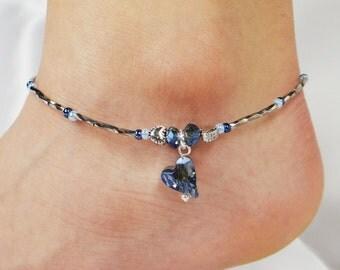 Anklet, Ankle Bracelet, Blue Crystal Heart Anklet, Crystal Anklet, Blue Anklet, Beaded Anklet, Ankle Jewelry, Foot Jewelry, Heart Jewelry