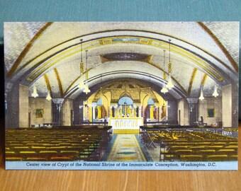 Vintage Postcard, National Shrine, Washington D.C. 1940s Linen Paper Ephemera