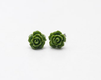 Olive green rose Stud Earrings