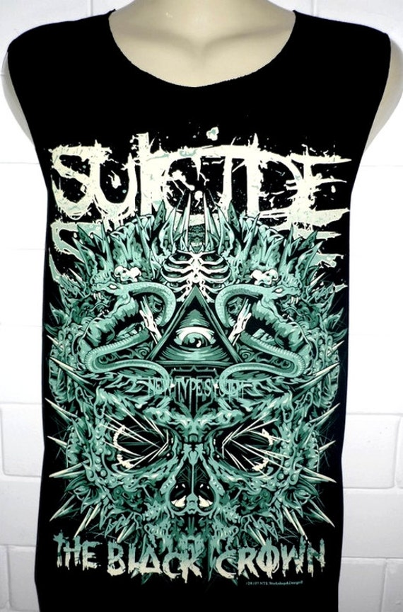 items similar to suicide silence the black crown rock band music heavy metal t shirt tank top. Black Bedroom Furniture Sets. Home Design Ideas