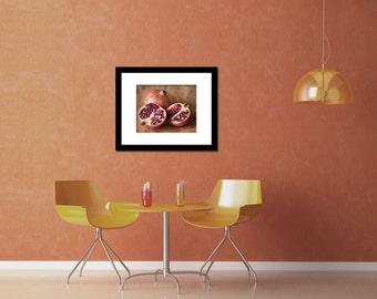 Retro kitchen art, pomegranate photo, rustic kitchen wall decor, fruit fine art photography, still life food art, brown red,wall decor print