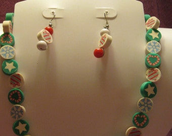 CHRISTMAS JEWELRY SET  Polymer Clay Beads