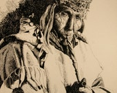 Native AMerican Elder with  Pipe, 8x10 Print from a Pen and Ink Original