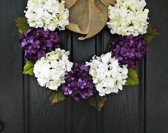 "24"" Year Round White and Purple Hydrangea Wreath, Summer, Wreath, Fall Wreath, Spring Wreath, With Initial Monogram"
