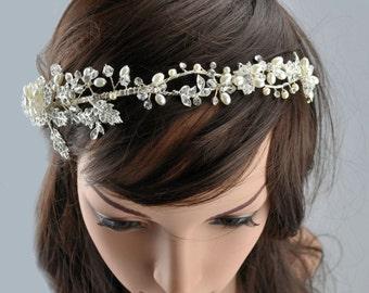 Vintage Boho Crystal Gatsby Bridal Wedding Ivory Cream Silver Pearl Swarovski Crystal Flower Leaf Headband Tiara