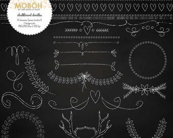 Chalkboard Doodles (25 embellishments, 2 backgrounds)