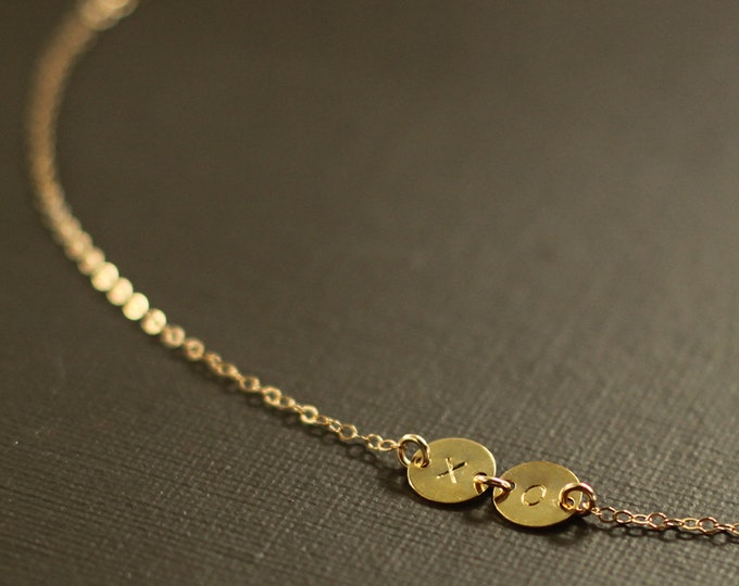 Gold XO Necklace - Tiny Gold Disc - 14K Gold Filled Chain