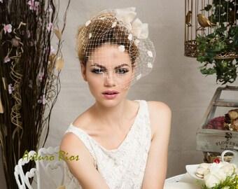 Champagne Bridal Headpiece, wedding hat, wedding veil, wedding headpiece, Veil
