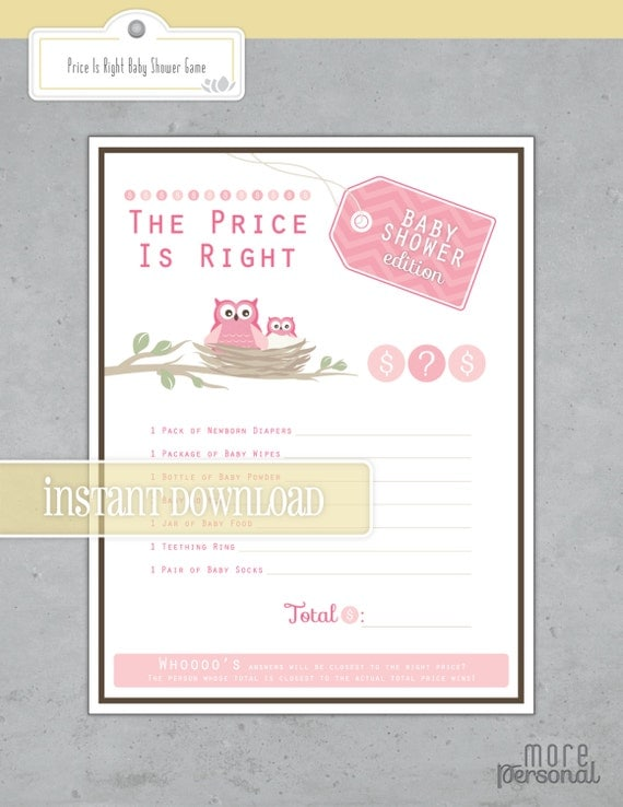 price is right baby shower game instant download chevron and owls