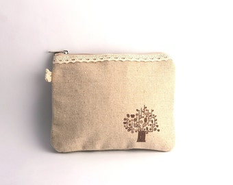 Cotton tingle Wallet Purse Phone bag Cosmetic Bag  - Tree