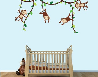 Baby Boy Monkey Wall Decals, Monkey Decal, Childrens Decals, (Green Brown),  MVD