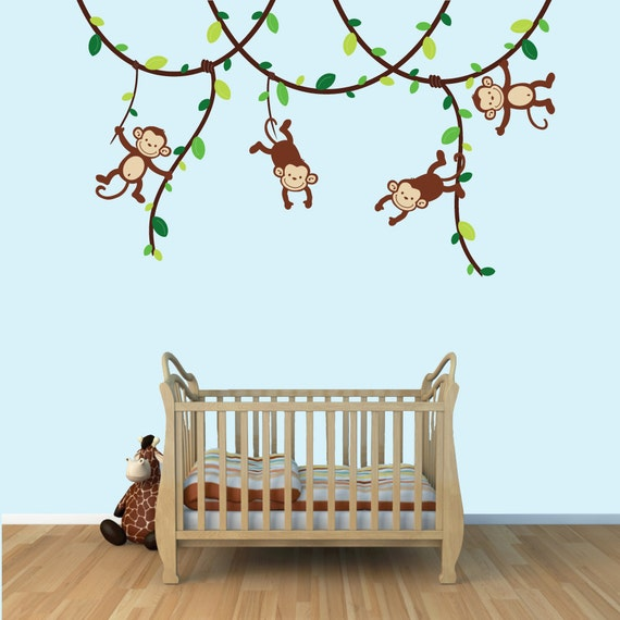 Baby boy monkey wall decals monkey decal childrens decals for Baby boy wall mural