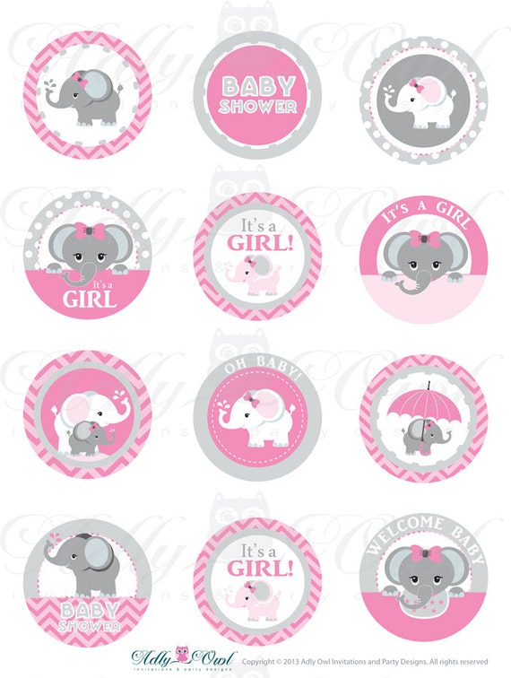 pink grey girl elephant baby shower cupcake by