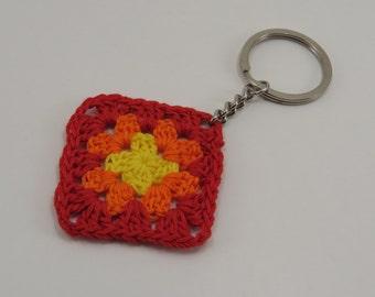 Sunset inspired Granny Square Keychain - Small Crochet Keyring - Handmade Accessory - Red, Orange, Yellow